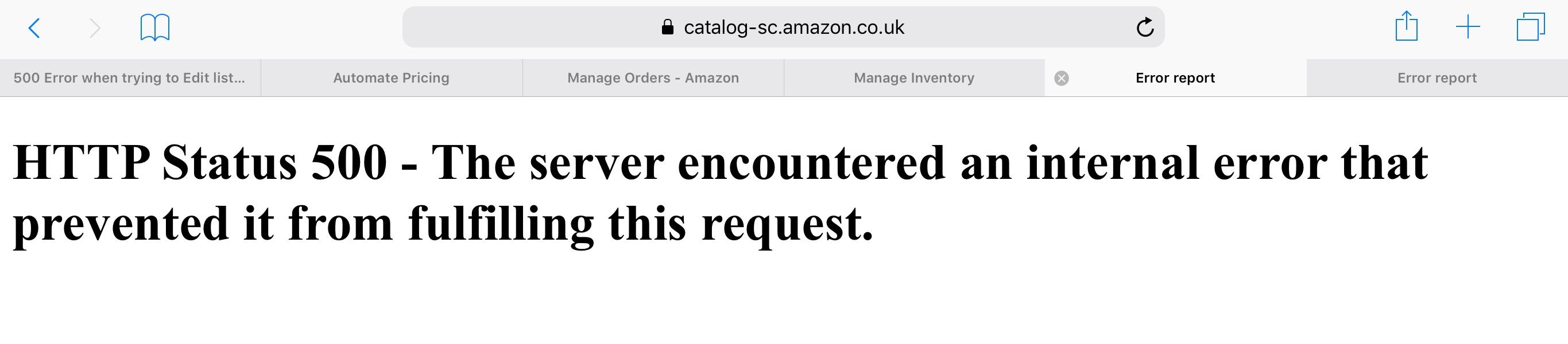 Amazon seller http status 500