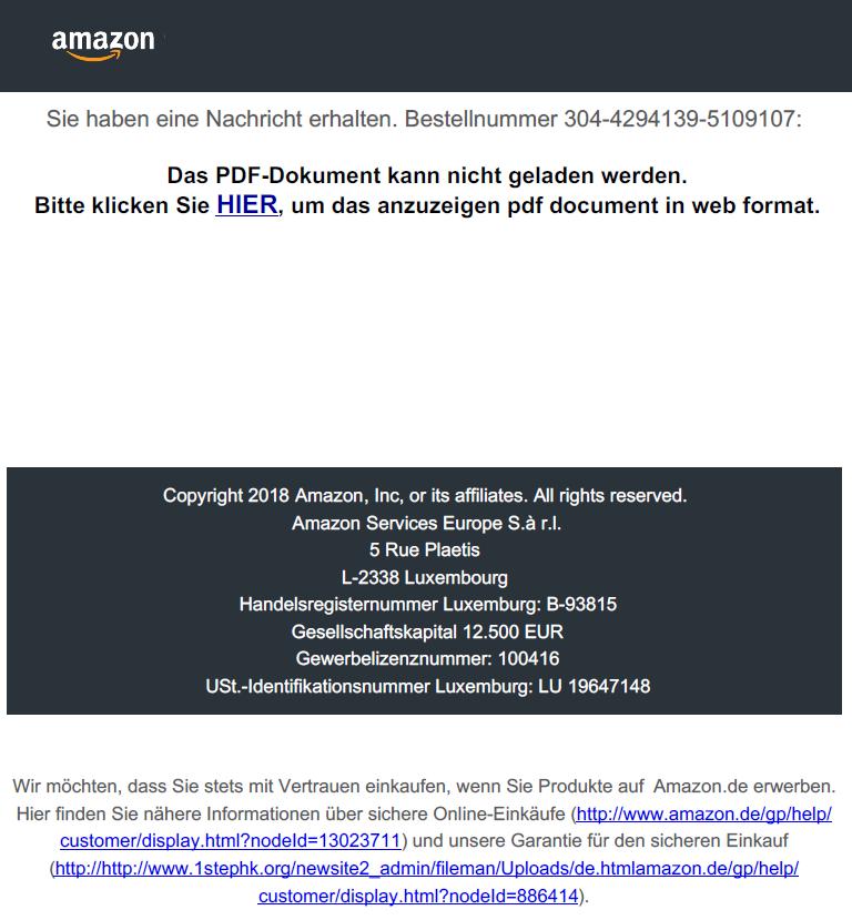Neue Phishing Mail Amazon Rechnung Verkäufergebühren Allgemeine