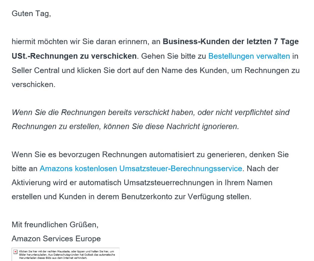 Stellen Sie Ust Rechnungen Für Amazon Verkäufe Der Letzten Tage