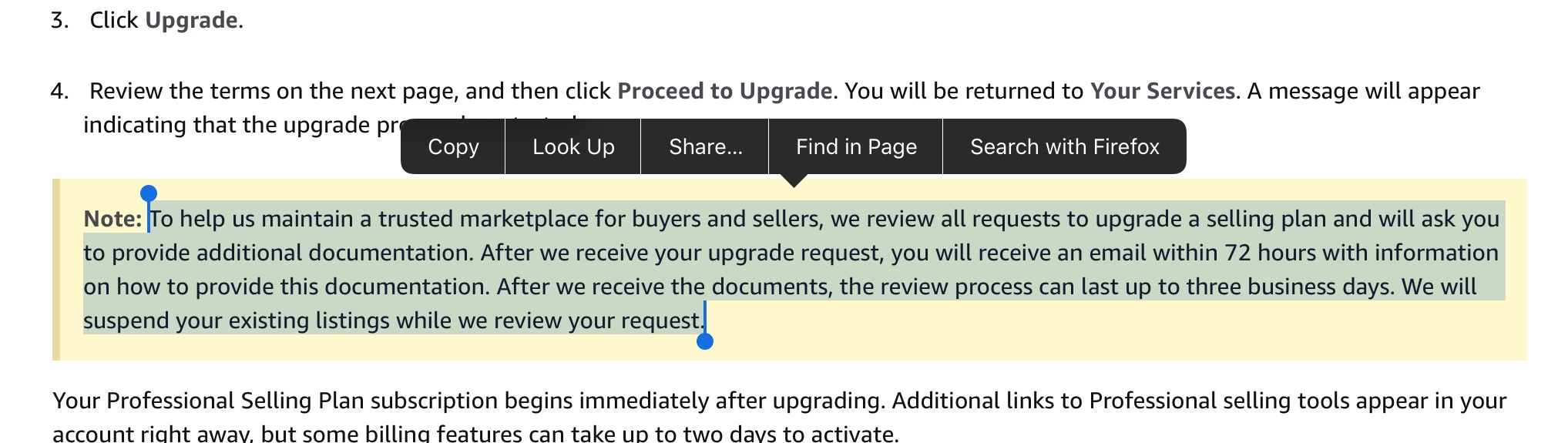 Account suspended 1 week after upgrading to Professional Seller plan