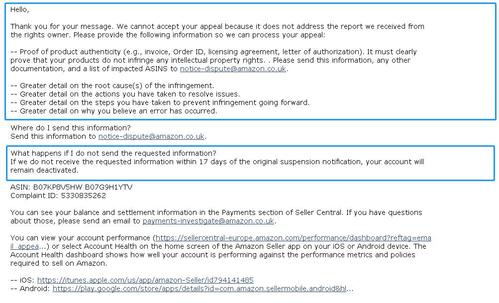 Account suspended Counterfeit - Sell on Amazon - Amazon Seller Forums