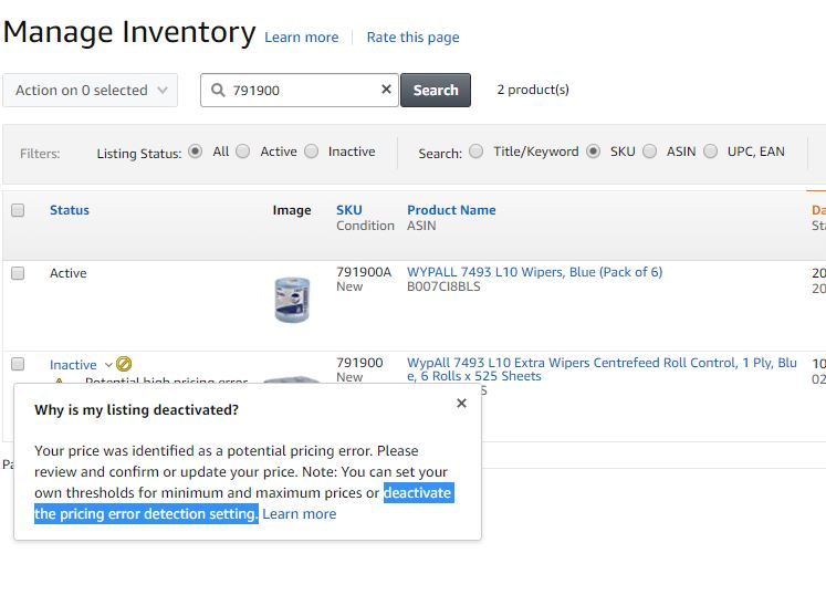 How Do I Deactivate The Pricing Error Detection Setting Sell On Amazon Amazon Seller Forums
